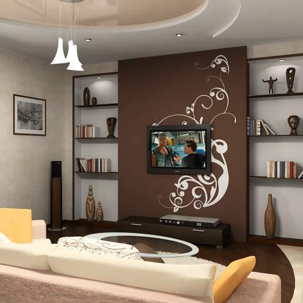 Современный дизайн зала в квартире в коричневом цвете