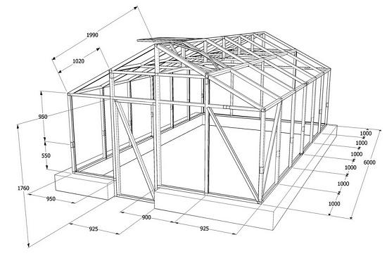 Чертеж деревянного каркаса для строительства теплицы
