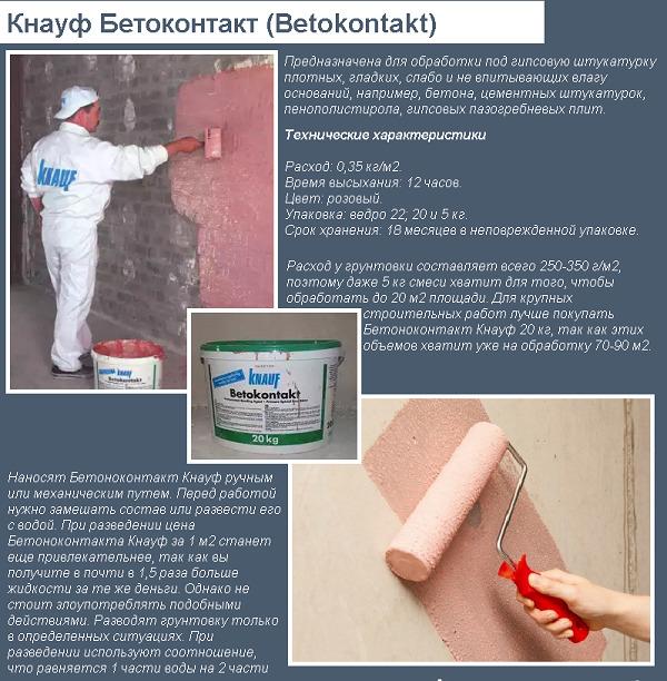 Технические параметры бетоноконтакта «Кнауф»