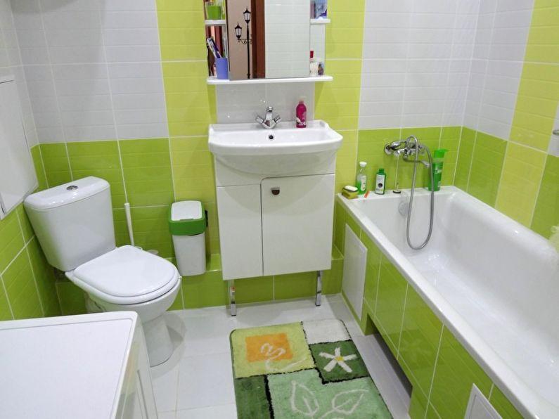 Дизайн маленькой ванной комнаты в зеленых тонах