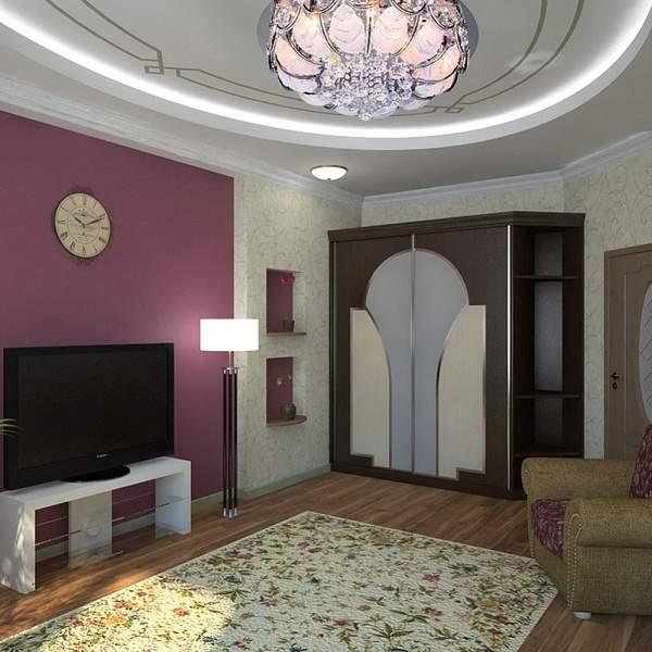 Дизайн зала в квартире в сиреневом цвете