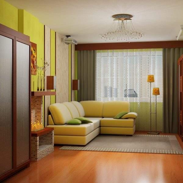 Стильный дизайн зала в хрущевке с компактной мебелью