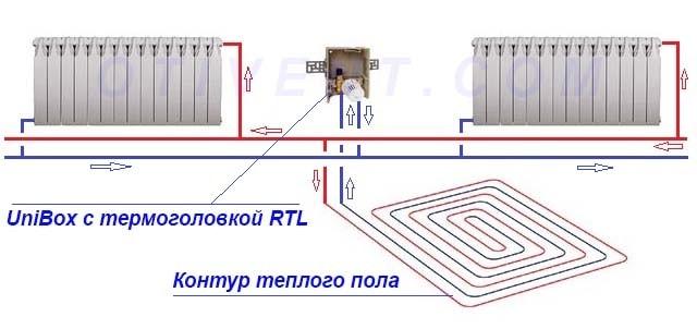 Схема с регулирующим клапаном RTL