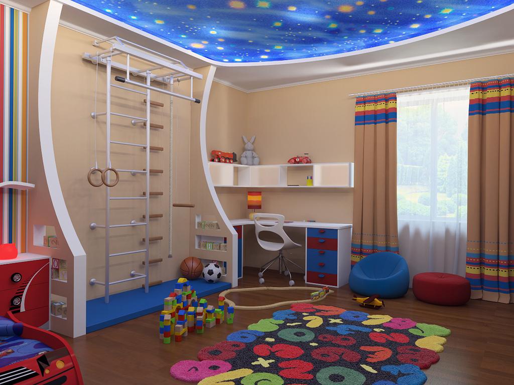 яркая детская спальня для ребенка