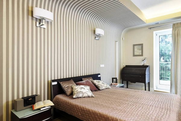 дизайн спальни с обоями двух цветов фото 14