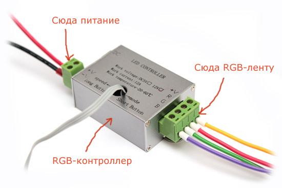 Схема подключения RGB-контроллера