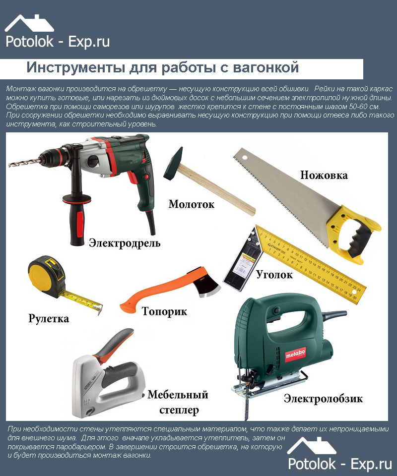 Инструменты для работы с вагонкой