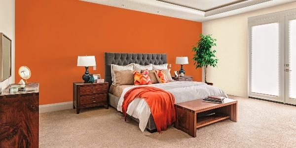 дизайн спальни с обоями двух цветов фото 2