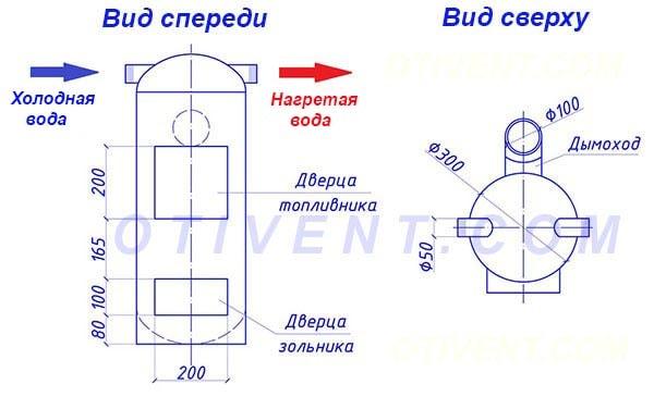 Схема самодельной печки с водяным контуром