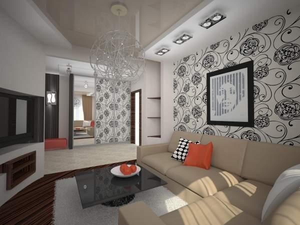 Хай тек дизайн маленького зала в квартире