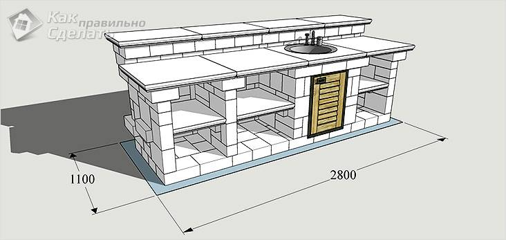 Схема конструкции из кирпича