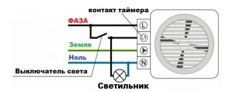 схема подключения проводов на вентилятор в ванной