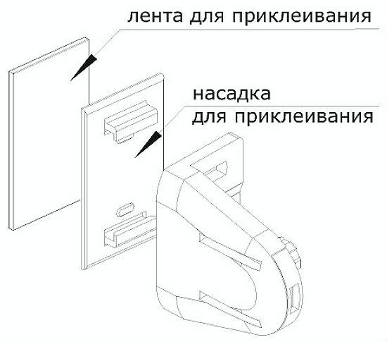 На схеме показана установка жалюзи на скотч, способ подходит для крепления небольших по весу конструкций