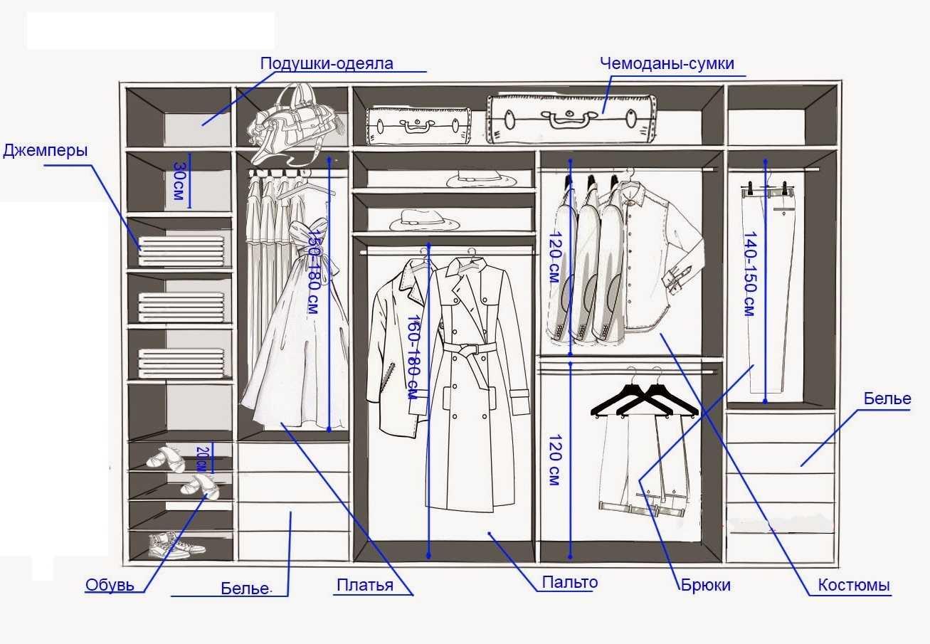 Пример организации пространства в гардеробной комнате (с указанием минимальных размеров для разных видов одежды)