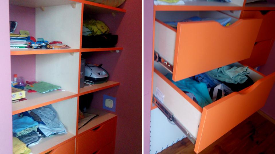 Встроенная гардеробная с выдвижными ящиками