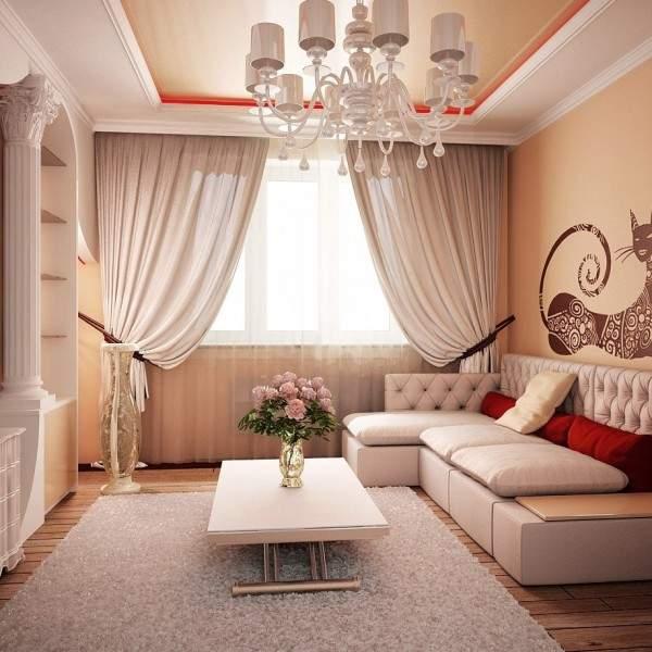 Интерьер гостиной в классическом стиле с лепниной