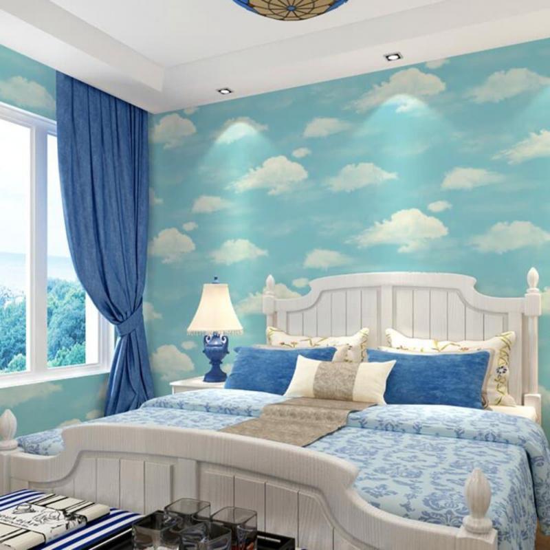 Голубые обои для спальни 1