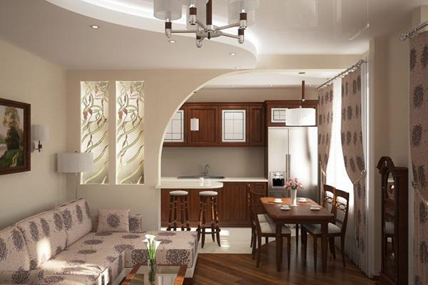 Стены из гипсокартона на кухне