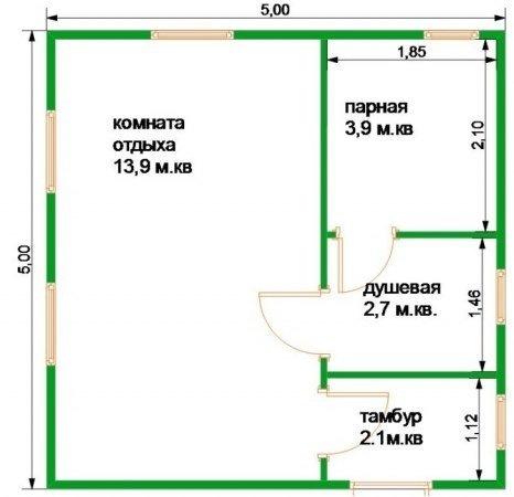 Оптимальные размеры бани с комнатой отдыха