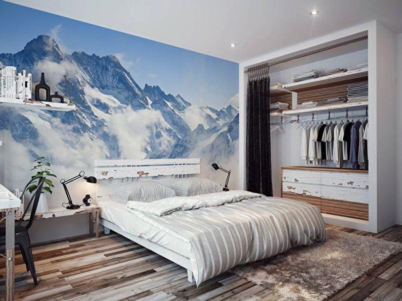 Фотообои с изображением гор в спальне