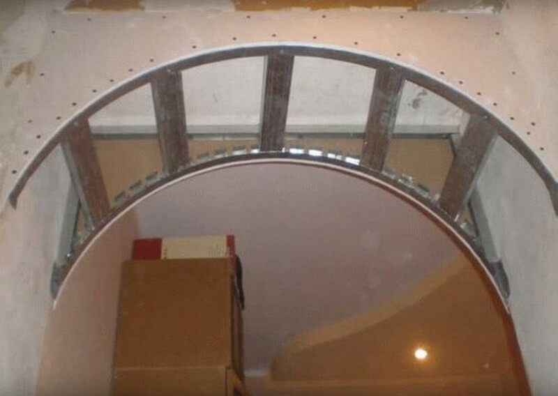 Внутренний каркас для арки из листов гипсокартона