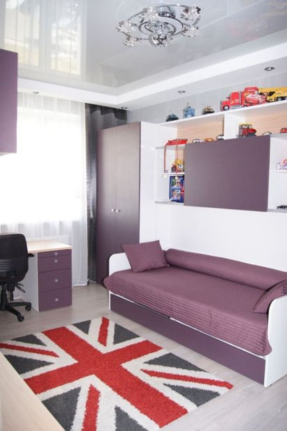 Дизайн детской для девочки в фиолетовом цвете