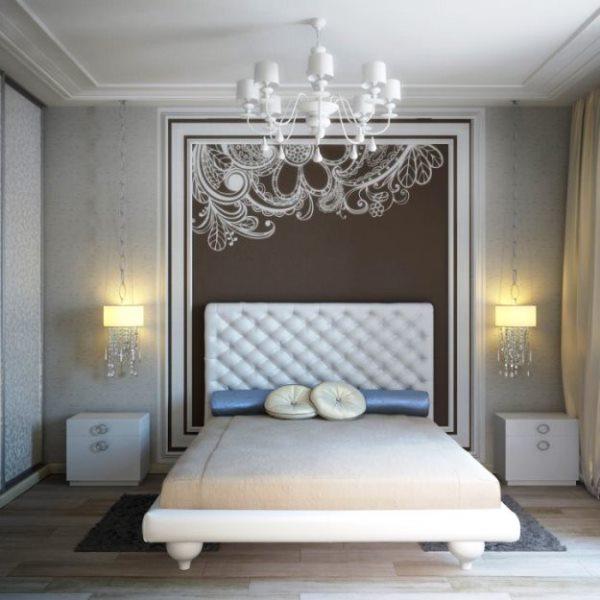 дизайн спальни с обоями двух цветов фото 47
