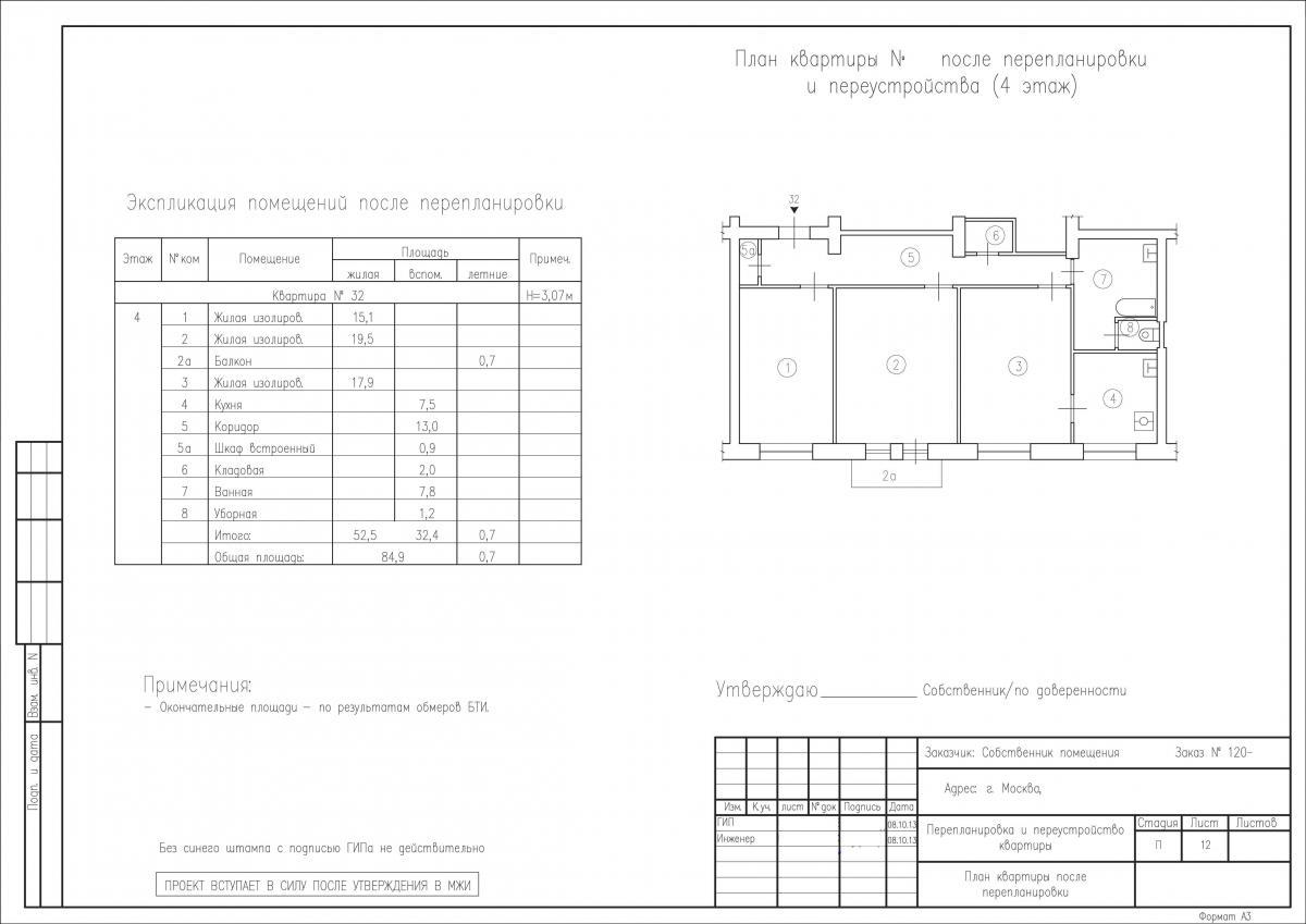План после перепланировки объединения кухни и комнаты