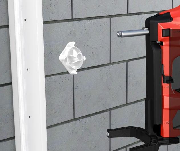 клипса для крепежа кабельного канала к стене с помощью пистолета Hilti