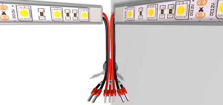 подключение проводов питающих светодиодную ленту от блока и диммера