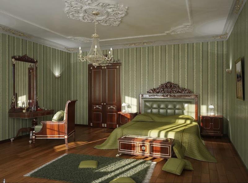 Зеленые обои для спальни 4