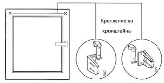 Схема, как крепить жалюзи на кронштейны-крючки