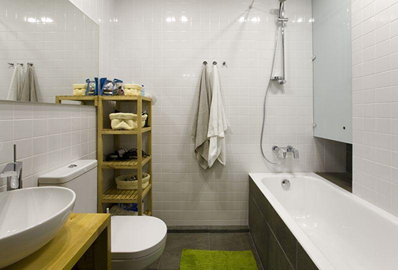 Дизайн маленькой ванной комнаты в белом цвете