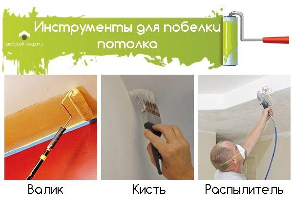 Инструменты для побелки потолка