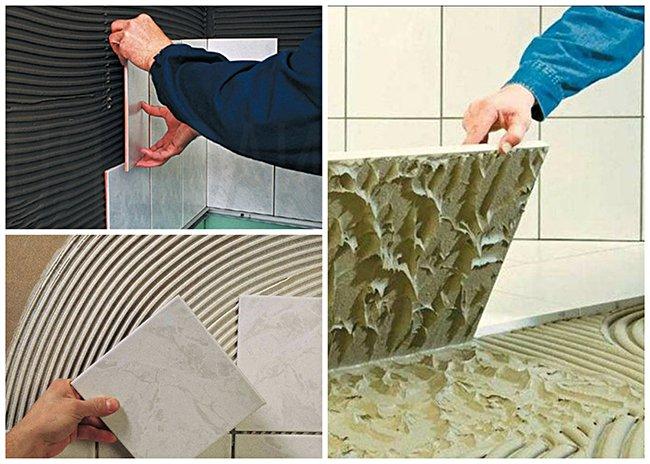 примеры нанесения клея и укладки плитки на стену