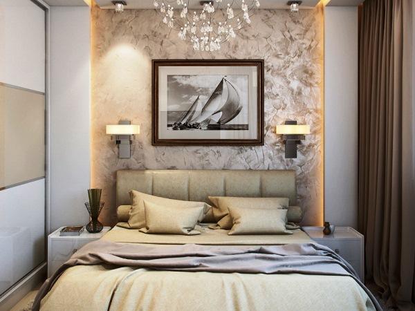 дизайн спальни с обоями двух цветов фото 29