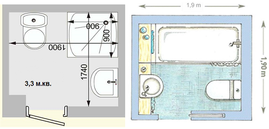Планировки санузлов с разными типами дверей