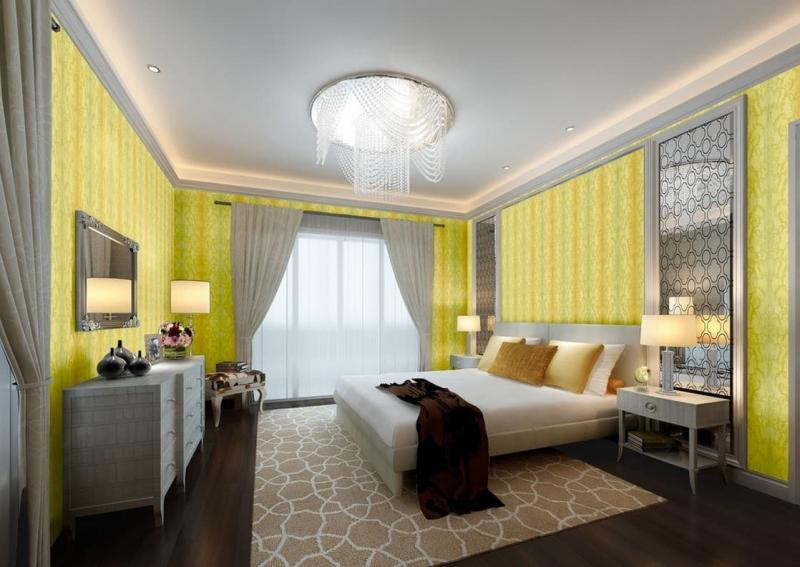 Желтые обои в интерьере спальни 4