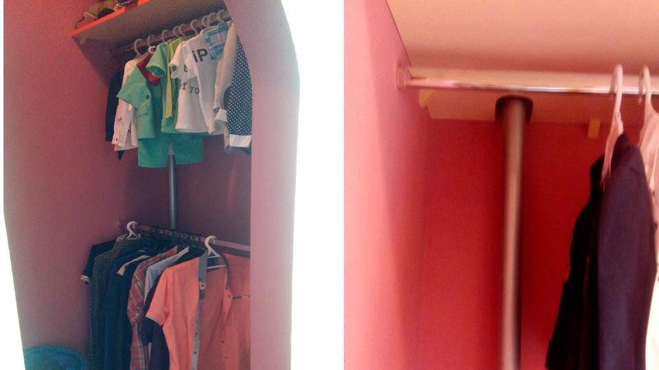 Труба отопления в гардеробной