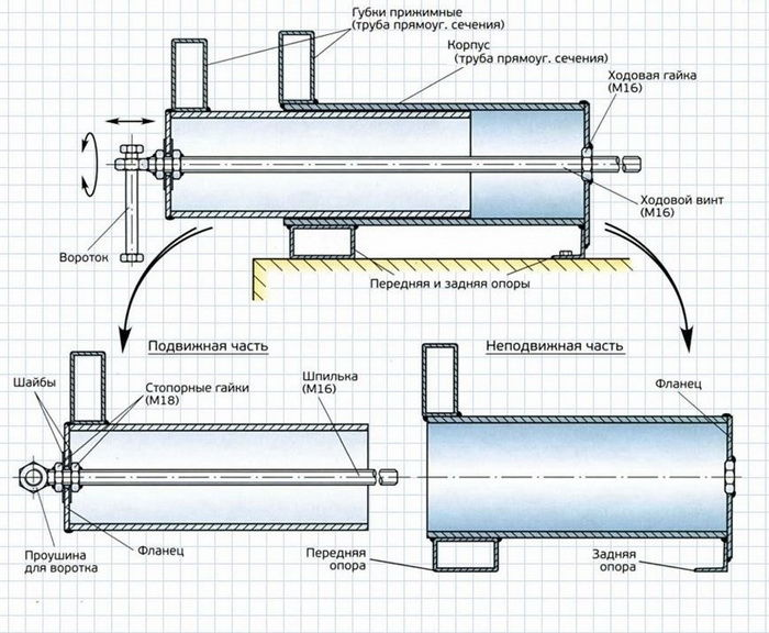 Схема для изготовления самодельных тисков