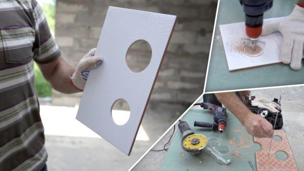 Для проделывания отверстий в плитке используют специальную насадку на дрель