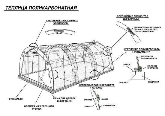 Чертеж поликарбонатной теплицы на металлокаркасе