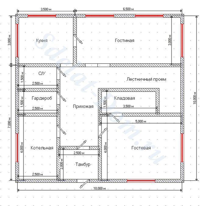 Проектируем окна на первом этаже