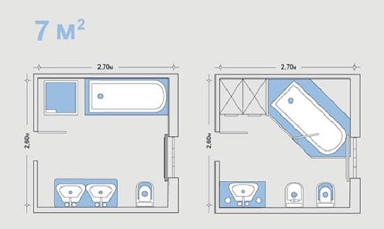 Примеры расположения сантехники в совместном санузле