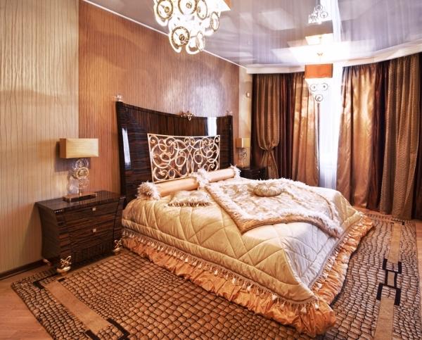 дизайн спальни с обоями двух цветов фото 41
