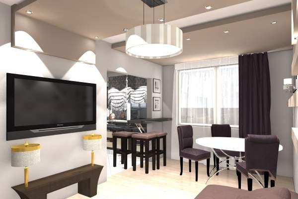 Дизайн зала в хрущевке в черно-белых тонах