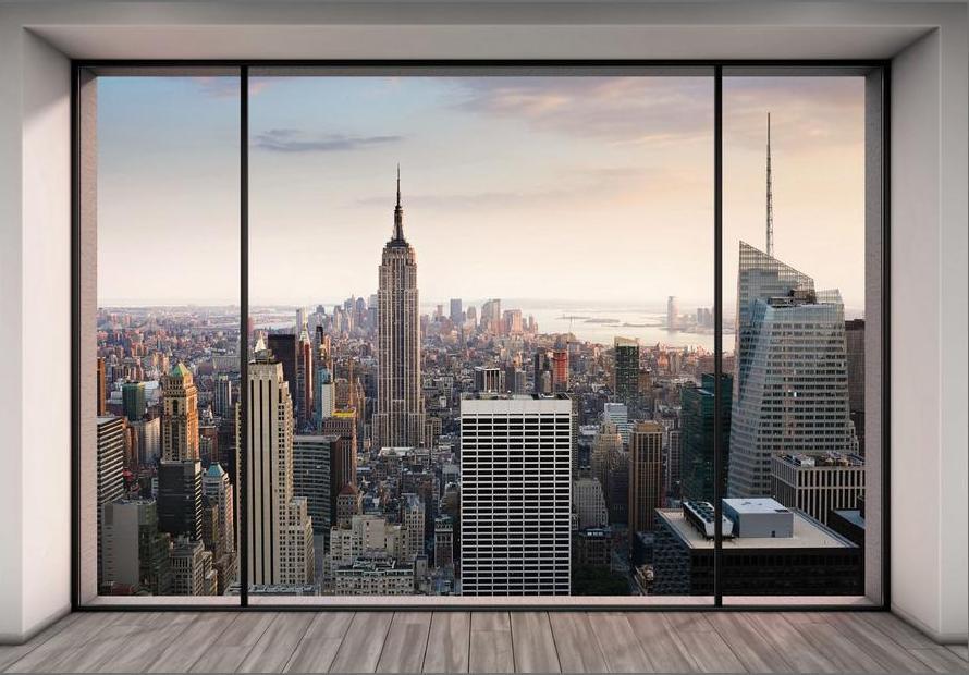 фотообои имитируют окно в город