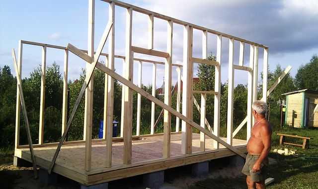 На половину построенный сарай: пол и две длинные стены стоят, осталось установить короткие и сделать стропильную систему