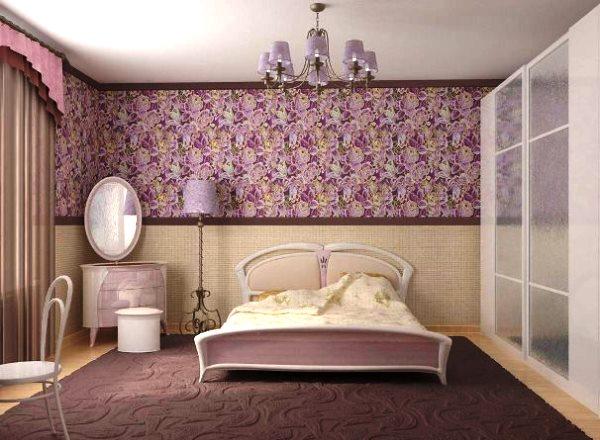 дизайн спальни с обоями двух цветов фото 25