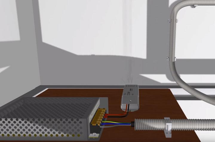 размещение блока и диммера на полке за потолком для освещения светодиодной лентой